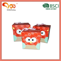 top selling cute owl pattern set gift paper box with ribbon bowtie