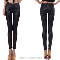 women sexy mesh side pu leather leggings