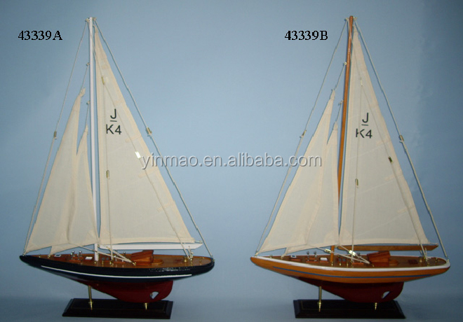J K4 Yacht Model, 2 sets 45x9x67cm Wooden sailboat model, Americas Cup J Class racing yacht sailing boat vessel replic model