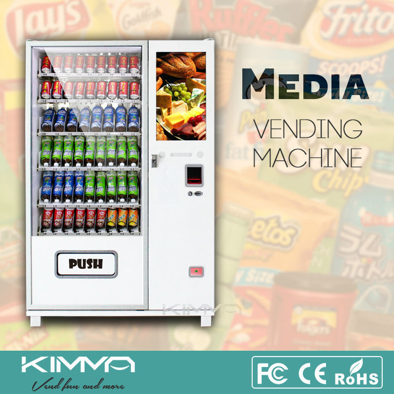 26 inches touch screen automatic vending machine for candy bar and mineral water