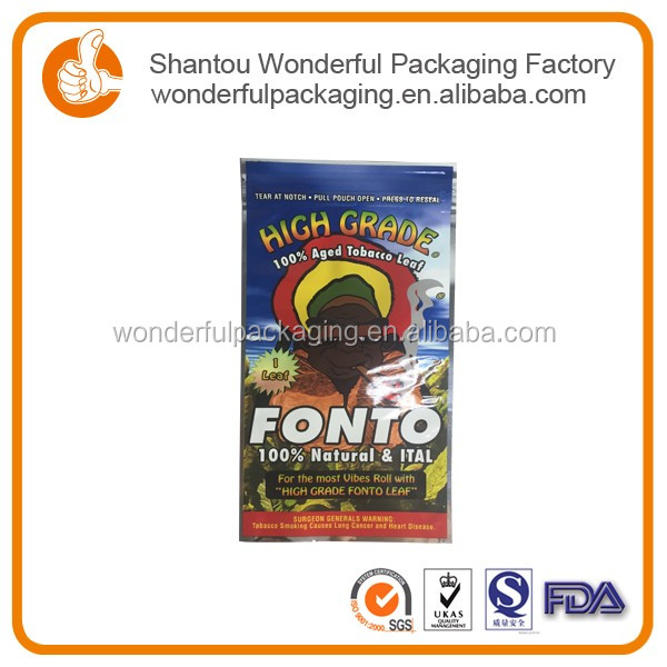 Decorative food grade ziplock tobacco plastic pouch