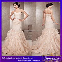Custom Made Brand Name Sweetheart Sleeveless Crystal Beaded Long Mermaid Ruffled Tail Champagne Mermaid Bridal Gown(WD-044)