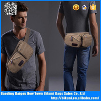 Multifunction leisure washed canvas waist bag sport men's chest bag