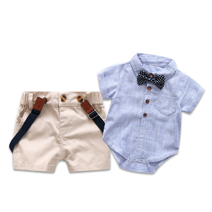 ZHG01 Toddler Baby Rompers Gentleman Roupas Infant T-shirt Overalls +Shorts baby boy clothing sets from china