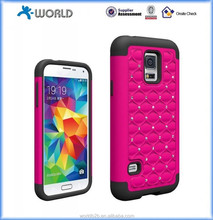 Bling Diamond Rhinestone Rubber Hybrid Hard Case Cove for Samsung Galaxy S5 mini