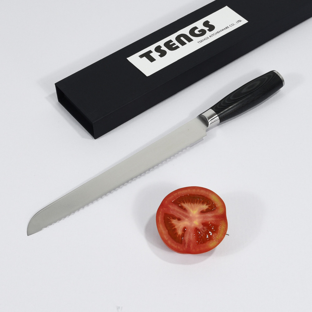Japanese super high carbon steel serrated bread knife