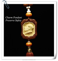 2016 Hot Selling Chinese Traditional Buddha Theme Wood Carved Handicrafts Type Car Hanging Pendant