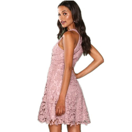 Popular mini sleeveless lace prom dress designer one piece party wear