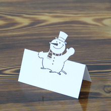 Laser Cut Floding Name Card Snowman Design Place Table Card For Table Decoration