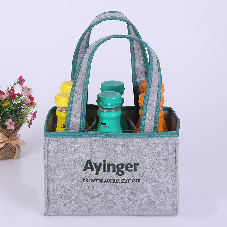 Promotional wholesale 6 bottle wool felt wine carry tote bag