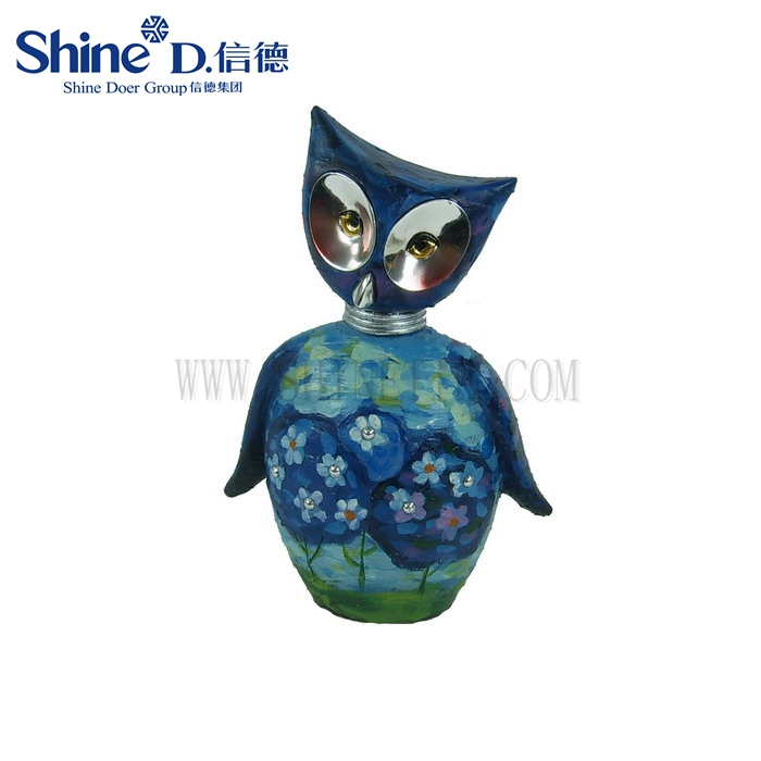 Cute resin oil painting Owl Figurines sculpture for wedding