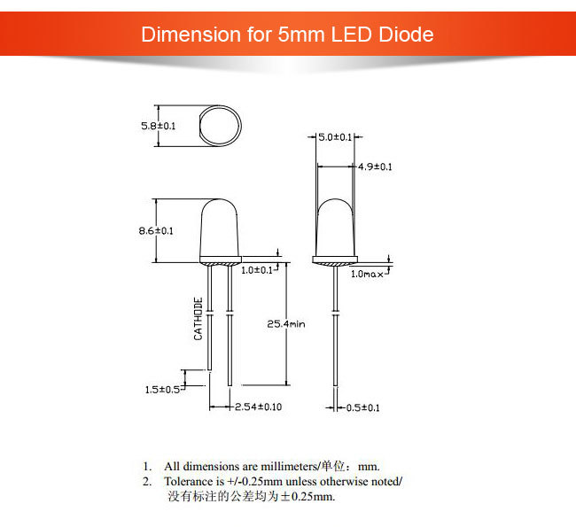 Ultra Brightness 5mm Led Diode White (RoHS Certificate)
