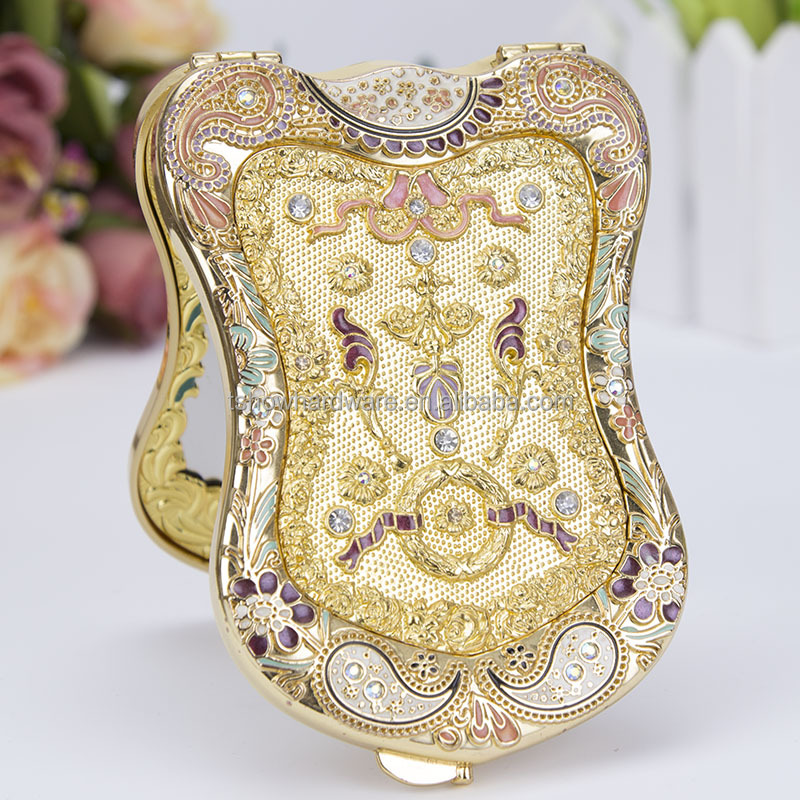 gold color high-end Russian style Shield shaped Portable Two-sided folding mirror
