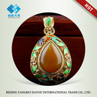Gold-Tone and Green Filigree with Chalcedony Set Water Drop Pendant