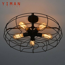Iron Material Install 5pcs E27 Edison Light Bulbs Vintage American Country Loft Lamp Retro Industrial Fan Ceiling Lights