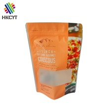 Hot sale custom printing brand new zipper top snack packaging bag with clear window for fried chips pies popcorn