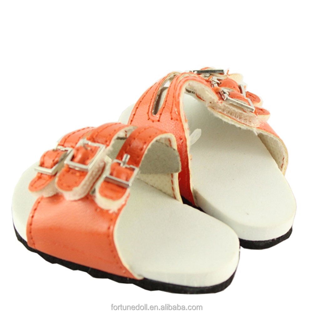 JC020- doll shoes- Orange Buckle 18 inch American Doll Slippers-wholesale 18 inch doll clothes