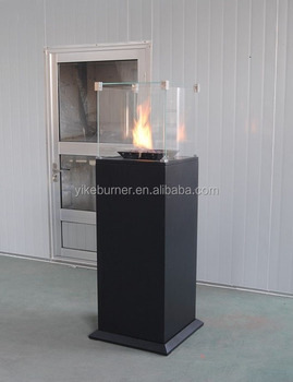 Outdoor firepit Black with four side glass