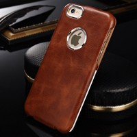 Leather Metal Case For iPhone 6 4.7,Flip Real Leather Case For iPhone6,China Wholesale Case Cover