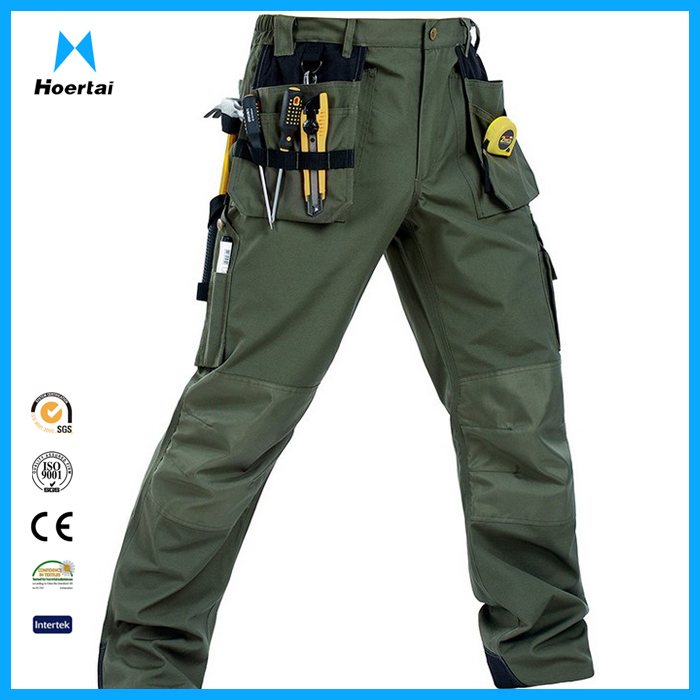 Wholesale Mens Multi Pockets Cargo Work Pant Construction Army Green Work Trousers