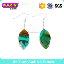 Fashion design DIY custom resin wood earrings silver hook earrings for gift #WR260