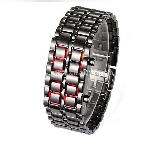 Black/Silver Metal Digital Lava Wrist Watch Iron Metal Red LED Samurai watch