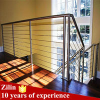 stainless steel wire staircase railing prices/steel pipe stair handrail /balcony stainless steel railing
