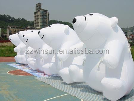 CE outdoor lovely inflatable white bear model, animal character inflatables