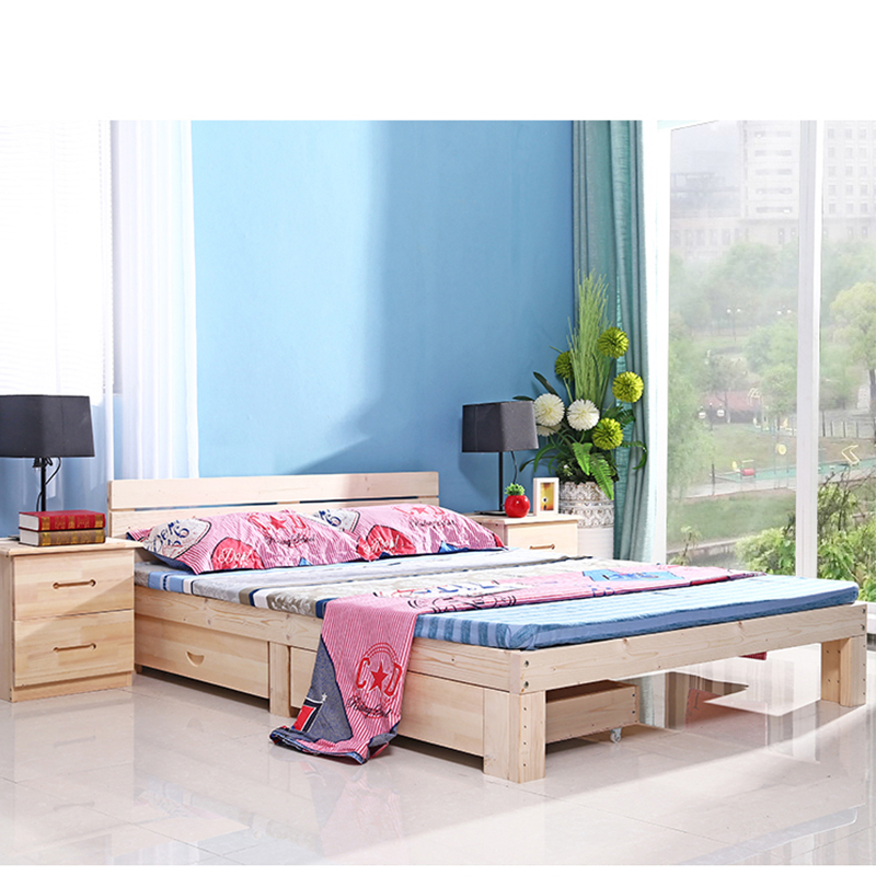 Popular pine wood simple design wooden bed