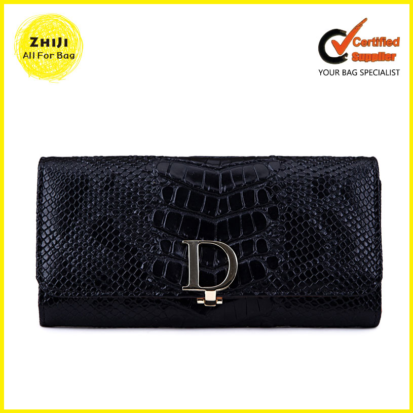 Fashion Pu Leather China Wholesale Women Alibaba Express Long Style Purse Black Clutch Bag Custom Ladies Snake Skin Pattern Wall