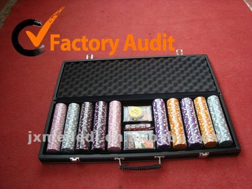 500pcs leather or PU poker chip set in aluminum black leather case MLD-AC54