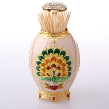 Elegant Automatic metal toothpick dispenser,Classic Rose Embossing toothpick container