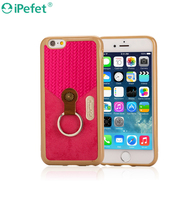 Wholesale price Fashion design TPU+PU cover case for iPhone 6S,mobile phone case With Ring Kickstand Holder Function