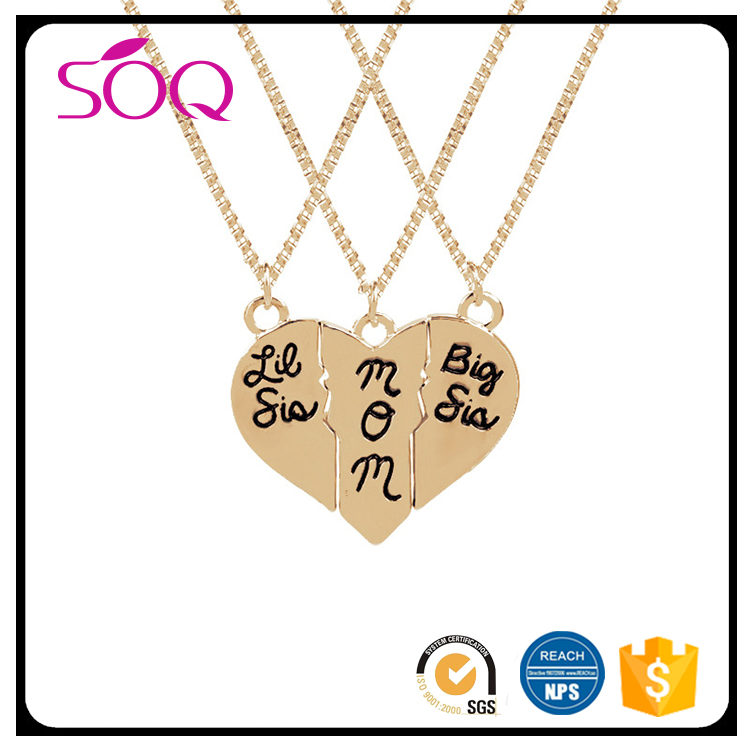 Classic elegant jewelry mother 's day gift bigsismom three splicing love necklace