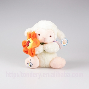fashion plush flower sheep,stuffed ladybird sheep,soft toys with animal logo