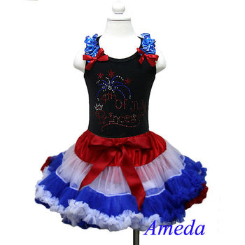 4th July - Red White Blue Pettiskirt 4th July Princess Rhinestone Black Tank Top Party Dress 1-7Y