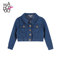 YAKUYIYI Girls Casual Vintage Classic Coat Children Fashion Denim Jacket Kid Girls Casual Streetwear Outwears for Wholesale