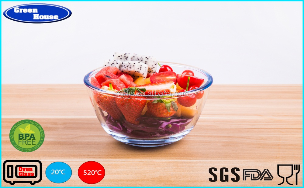 Kitchenware Multifunctional Elegant Glass Salad Bowl With PP Lid Six Different Sizes