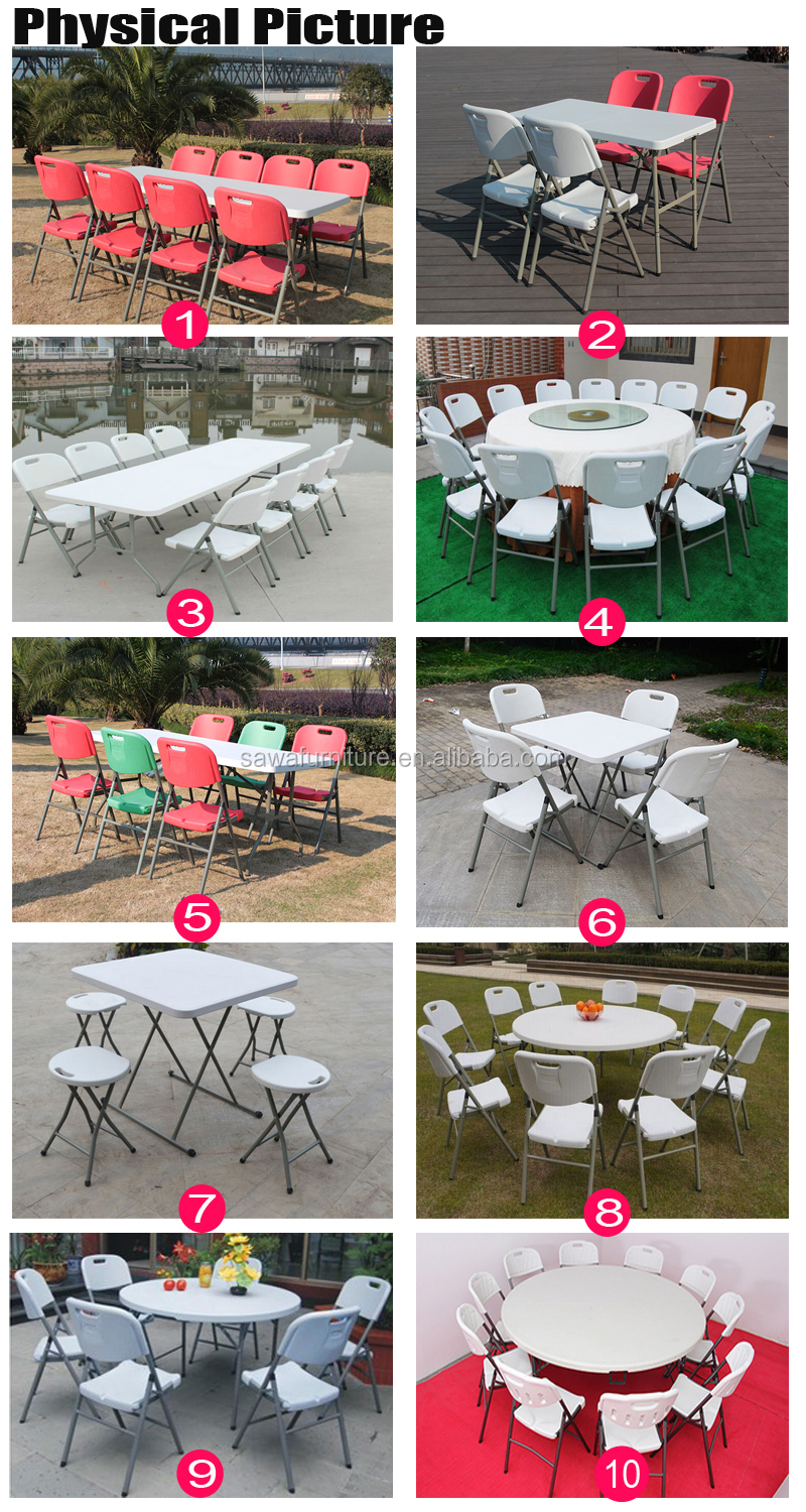 Wedding Steel Frame Round Blow Molded Plastic Top Folding Table