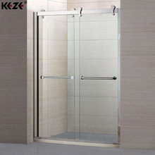 Brackets Pulley Acrylic Base Folding Tempered Glass Shower Screen With Certificate For Bath
