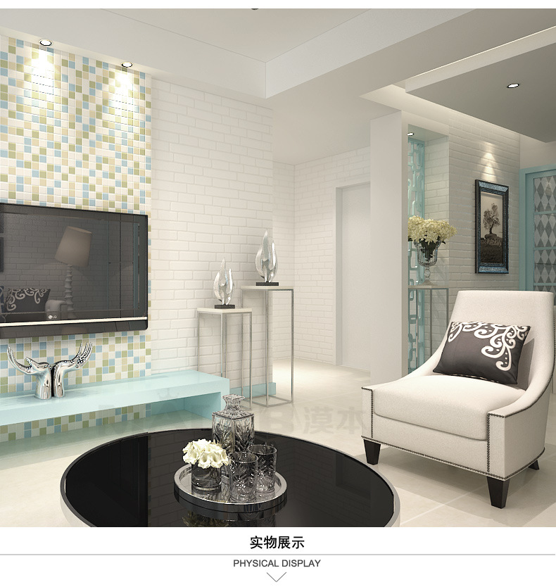 White color 3D brick wallpaper 3D Brick wall panels stone wallpapers