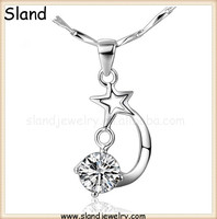 allibaba com wholesale fashion jewelry 2016 Platinum Plated sterling silver cz moon star pendant for necklace accessories