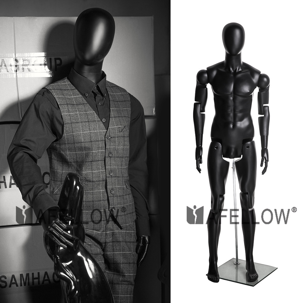 Cheap fiberglass black color male full body mannequin
