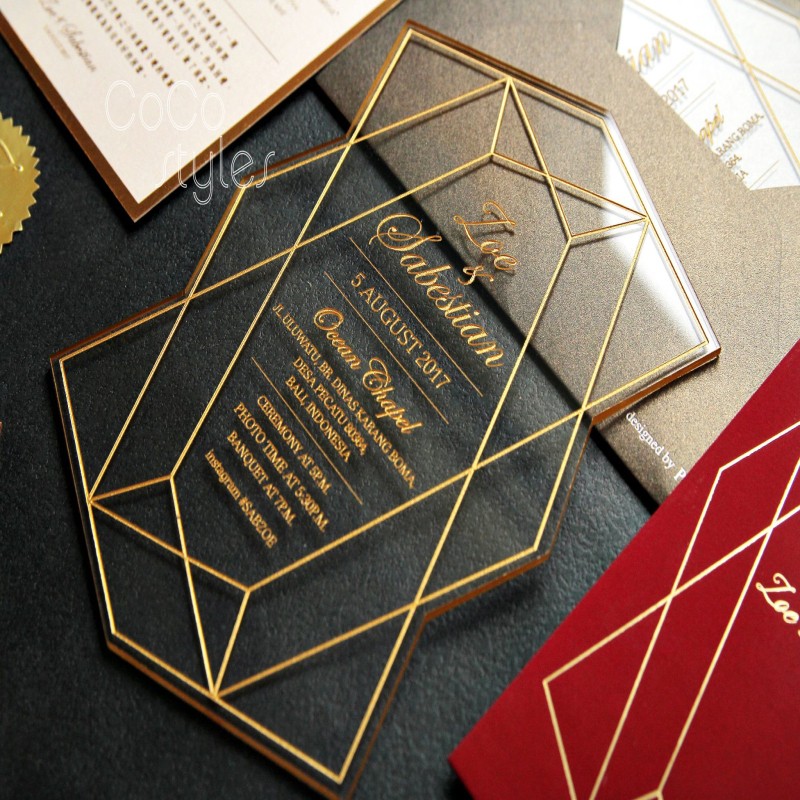 Cocostyles personalized stunning laser cut acrylic wedding invitation card with engraving design for luxurious wedding