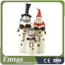 "Polyresin LED ""JOY"" snowman family for christmas gifts"