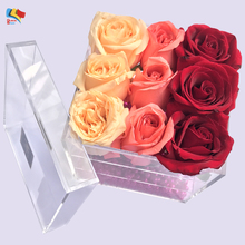 custom made cheap wholesale plastic rose acrylic flower box design