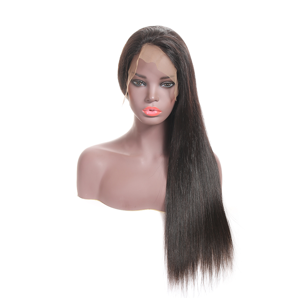 Fast Shipping Cheap Virgin Remy Malaysian Silk Straight Wave  Hair 360 Lace Front  Wigs For Black Women