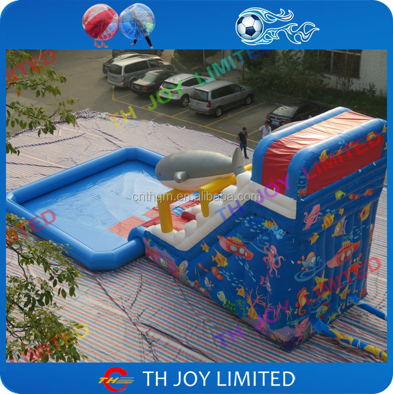 8x4x6m full printing inflatable <strong>slide</strong> with pool together