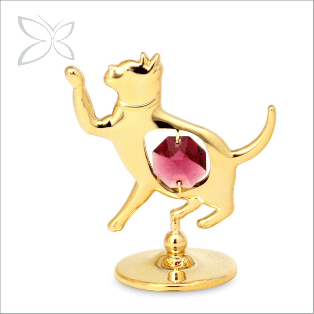 Good Quality Unique Gold Plated Crystals Cat Figurines