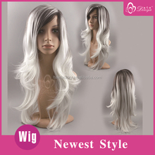 Synthetic White Ombre Wigs With Dark Roots